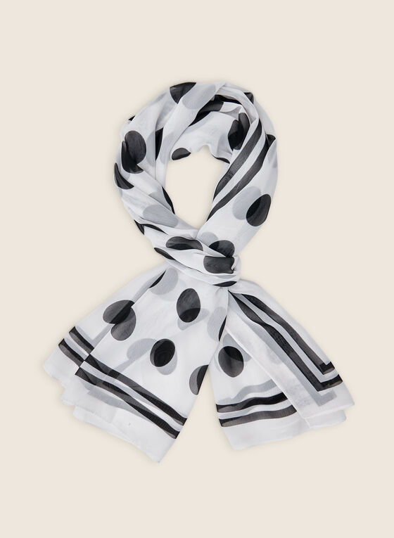 Foulard oblong léger motif pois, Blanc