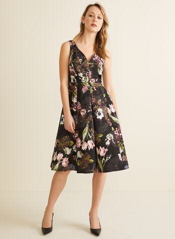 Floral Jacquard Dress, Black,  cocktail dress, sleeveless, floral, jacquard, paneled, fit & flare, v-neck, spring summer 2020