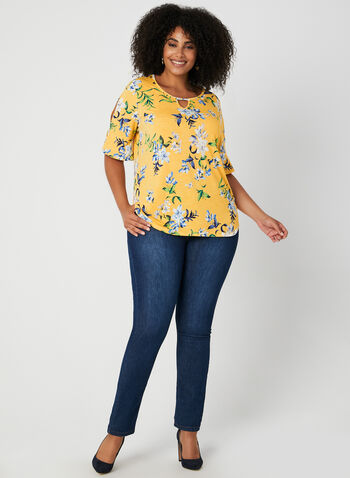 Floral Print Top, Yellow, hi-res