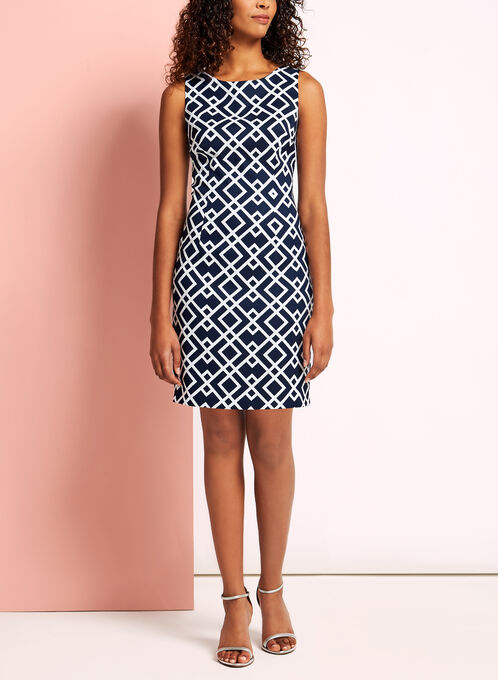Sleeveless Geometric Print Dress, Blue, hi-res