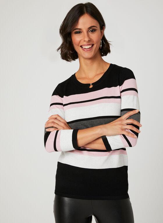 Pull en tricot avec rayures , Noir, hi-res