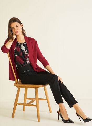 Open Front 3/4 Sleeve Cardigan, Purple,  cardigan, open front, mid length, 3/4 sleeves, knit, spring summer 2020