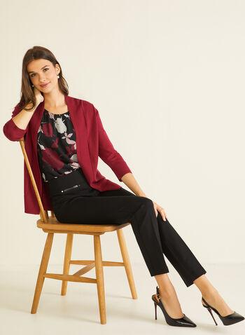 Cardigan ouvert à manches ¾, Violet,  cardigan, ouvert, mi-long, manches 3/4, tricot, automne hiver 2020