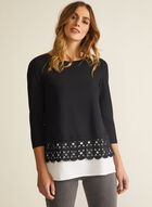 Embroidered Hem Layered Top, Black