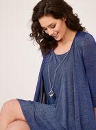 Crinkle Knit Dress with Cardigan, Blue, hi-res