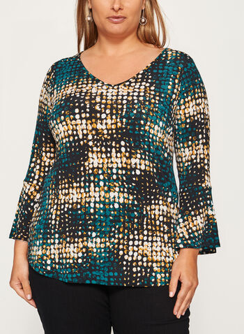 Abstract Print Bell Sleeve Top, Green, hi-res