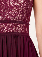Sequin Lace Bodice Jersey Dress, Red, hi-res