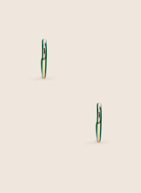 Epoxy Open Hoop Earrings, Green