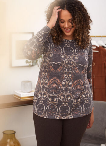 Haut à manches longues et motif paisley, Noir,  haut, pull, chandail, encolure arrondie, manches longues, motif paisley, tricot, automne hiver 2021