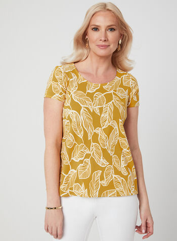 Leaf Print Blouse, Yellow, hi-res,  Canada, short sleeves, blouse, leaf print, spring 2019