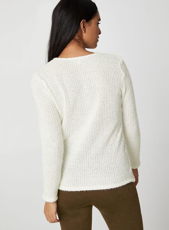 Pull en tricot doux à col V, Blanc cassé