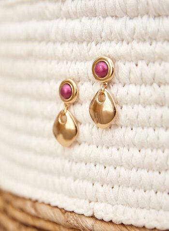 Teardrop Dangle Earrings, Purple,  accessories, earrings, dangle, resin, metal, fall winter 2021