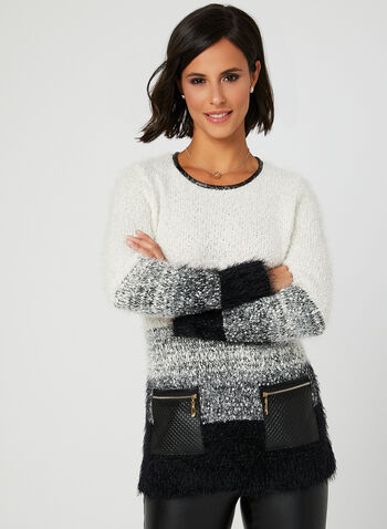 Colour Block Knit Sweater, White, hi-res