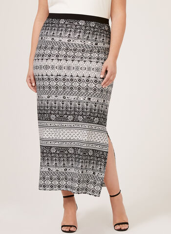 Puff Print Pull-On Skirt, Black, hi-res