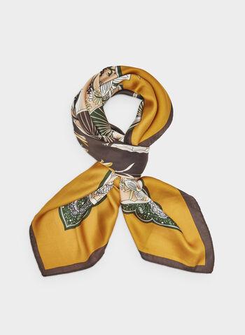 Foulard carré à motifs éventails, Jaune,  foulard, carré, éventail, soie, automne hiver 2019