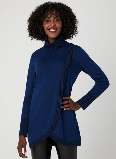 Faux Wrap Tunic Sweater