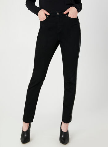 Modern Fit Slim Leg Jeans, Black,  crystal trim, slim leg, modern fit, fall 2019, winter 2019