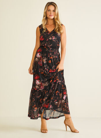 Floral Print Smocked Waist Dress, Black,  dress, floral, mesh, smocked, sleeveless, spring summer 2020