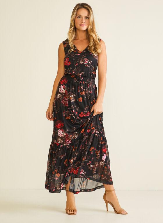 Floral Print Smocked Waist Dress, Black