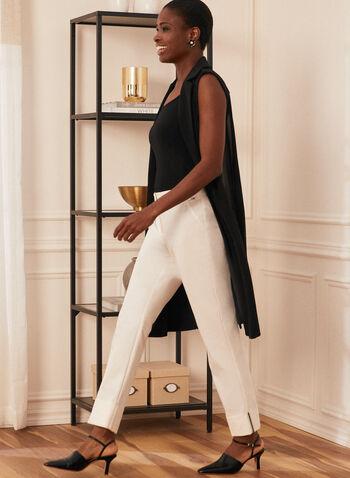 City Fit Straight Leg Pants , Off White,  pants, city fit, straight leg, pleats, rolled up hem, cotton, Spring 2020