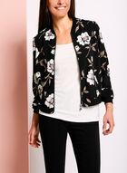 Floral Print Bomber Jacket, Grey, hi-res