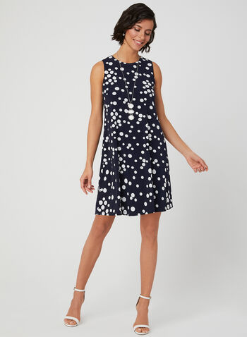 Polka Dot Print Sleeveless Dress, Blue, hi-res,  jersey, textured, puff print, spring 2019