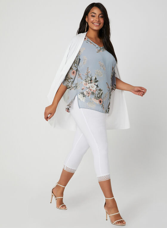 Floral Print Chiffon Top, Grey