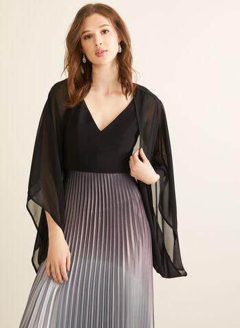 Châle en mousseline, Noir,  printemps été 2020, châle, mousseline, manches longues, manches kimono, crêpe
