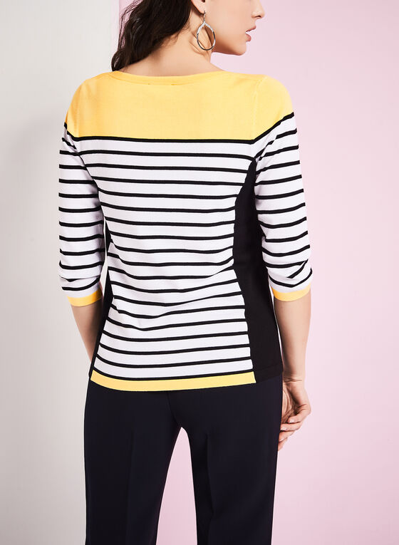 Knit Stripe Print Sweater, White, hi-res