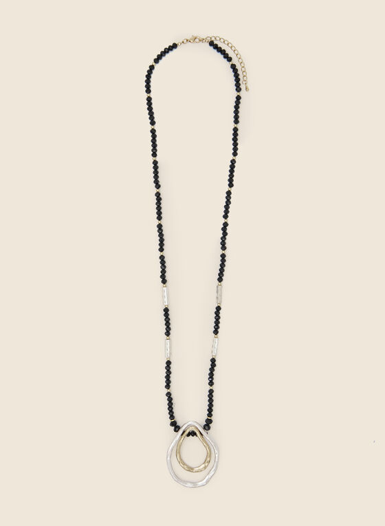 Oval Ring Pendant Necklace, Black