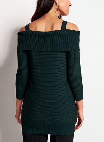 Pull tricot à épaules dénudées et zips dorés, Vert, hi-res