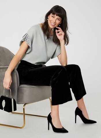 Modern Fit Velvet Pants, Black,  Canada, pants, velvet, wide leg, Modern Fit, pull on, elastic waist, fall 2019, winter 2019