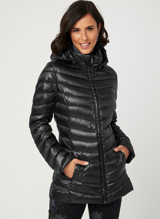 Lightweight Packable Down Coat, Black, hi-res