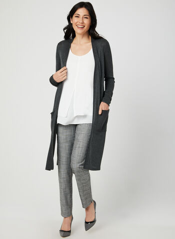 Long Knit Cardigan, Grey,  lightweight, knit, long sleeves, pockets, fall 2019, winter 2019