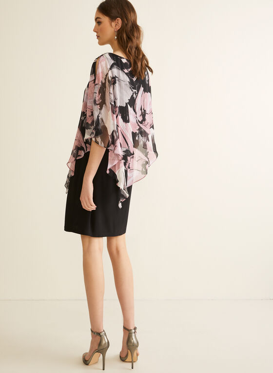 Floral Print Poncho Dress, Black