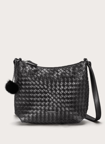 Basket Weave Crossbody Bag, Black, hi-res