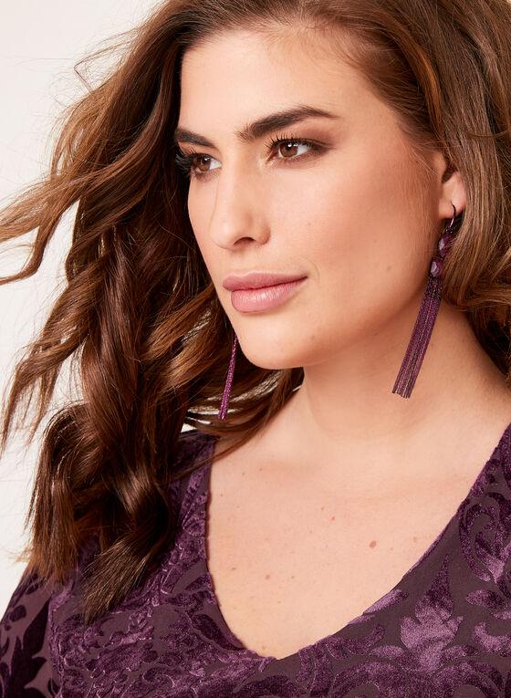 Paisley Velvet Bell Sleeve Blouse , Purple, hi-res