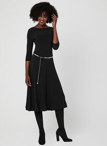 Nina Leonard - Robe midi avec ceinture en perles, Noir, hi-res