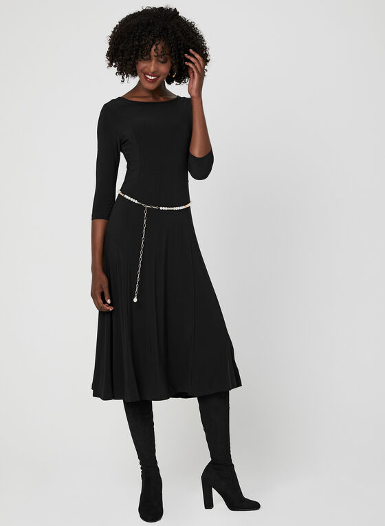 Nina Leonard - ¾ Sleeve Dress, Black, hi-res