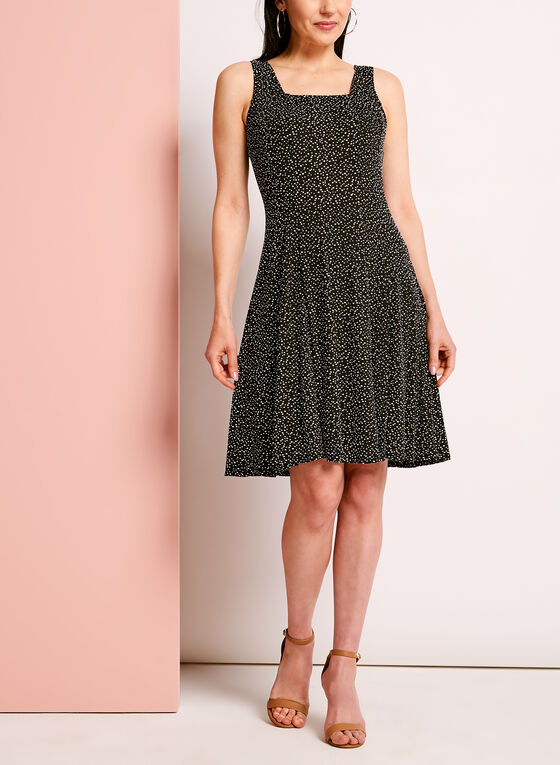 Sleeveless Dot Print Fit & Flare Dress, Black, hi-res