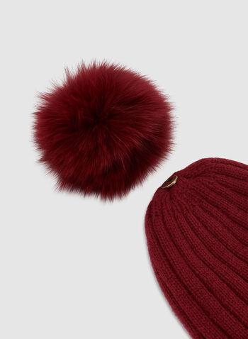 Fur Pompom Knit Tuque , Red, hi-res,