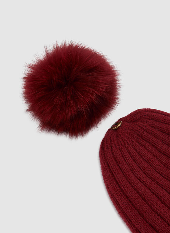 Fur Pompom Knit Tuque , Red