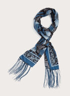 Foulard à fleurs et franges, Bleu, hi-res