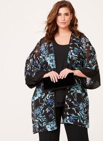 3/4 Sleeve Floral Print Kimono , Black, hi-res