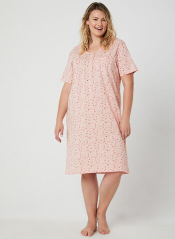 Bellina - Chemise de nuit motif fantaisie, Rose, hi-res,  chemise de nuit, fantaisie, manches courtes, boutons, coton, printemps été 2019