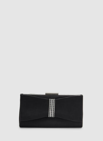 Bow Detail Clutch, Black,  clutch, satin bow, crystals, fall 2019, winter 2019