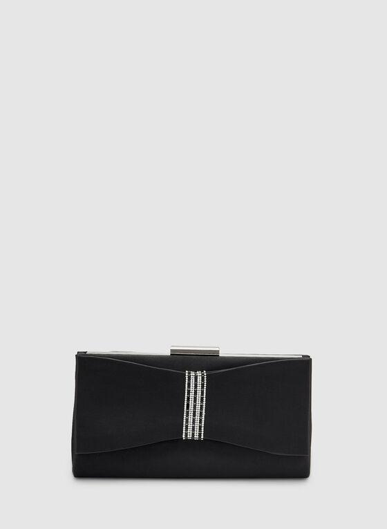 Bow Detail Clutch, Black