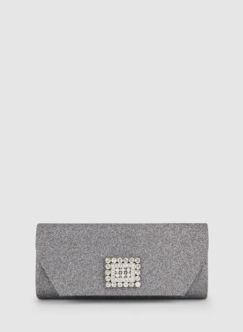 Crystal Detail Clutch, Grey, hi-res,  fall winter 2019, crystal detail, glitter