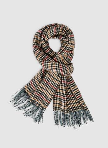 Écharpe motif tartan à franges, Multi, hi-res,  écharpe, tartan, franges, automne hiver 2019