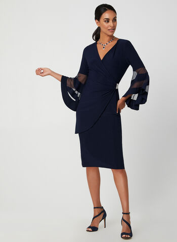 Bell Sleeve Jersey Dress, Blue, hi-res,  cocktail dress, V-neck, wrap, bell sleeves, jersey, rhinestones, ruching, fall 2019, winter 2019